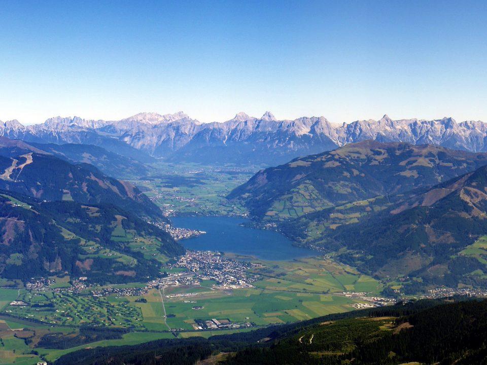 Blick vom Imbachhorn auf den Zeller See und das Steinerne Meer