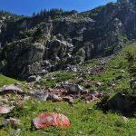 Am Weg zum Schödersee zieren einzelne Felsbrocken den Weg