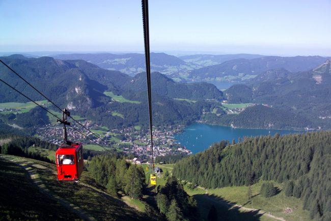 Gondel Zwölferhorn mit Blick auf St. Gilgen