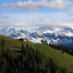 """Diesen herrlichen Blick auf die Bichlalm und die hohen Tauern hat man am oberen Ende der """"Himmelsleiter"""", wo diese auf den Forstweg trifft"""