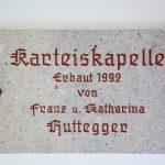 Inschrift am Eingang der Karteiskapelle