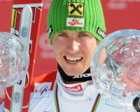 Marcel Hirscher mit Weltcup-Kugel, Weltcup Finale Schladming 2012 (Foto: Erich Spiess)