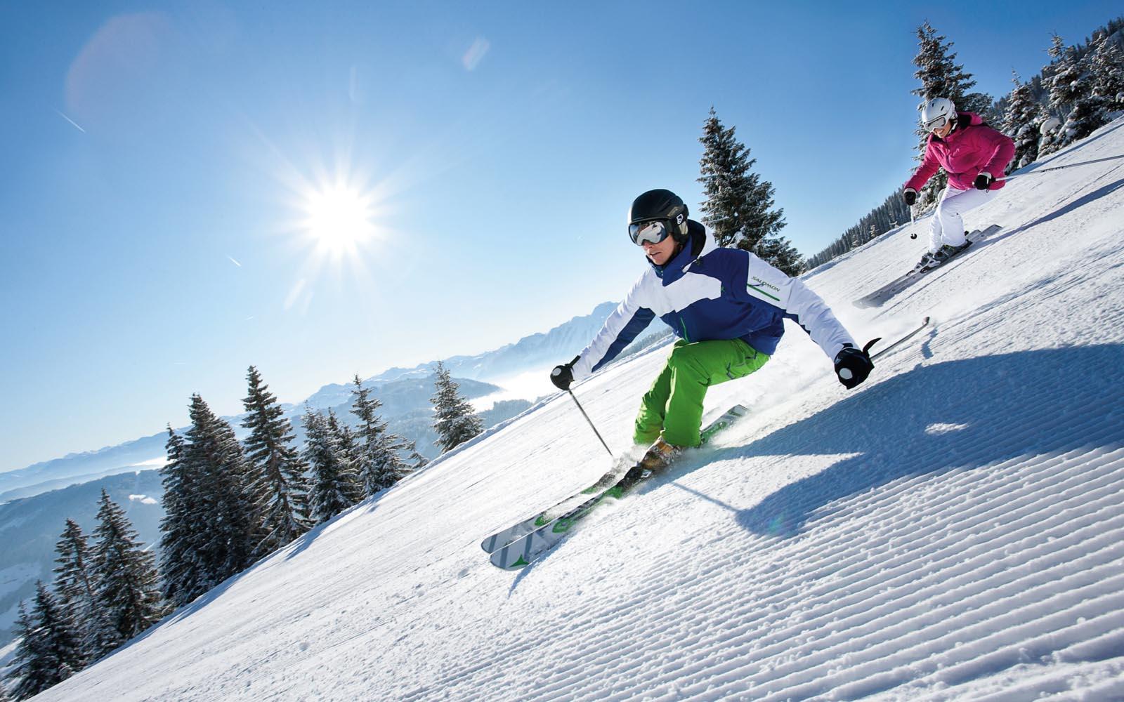 Skifahren ist die energiebilanz hoch und skifahren gilt als