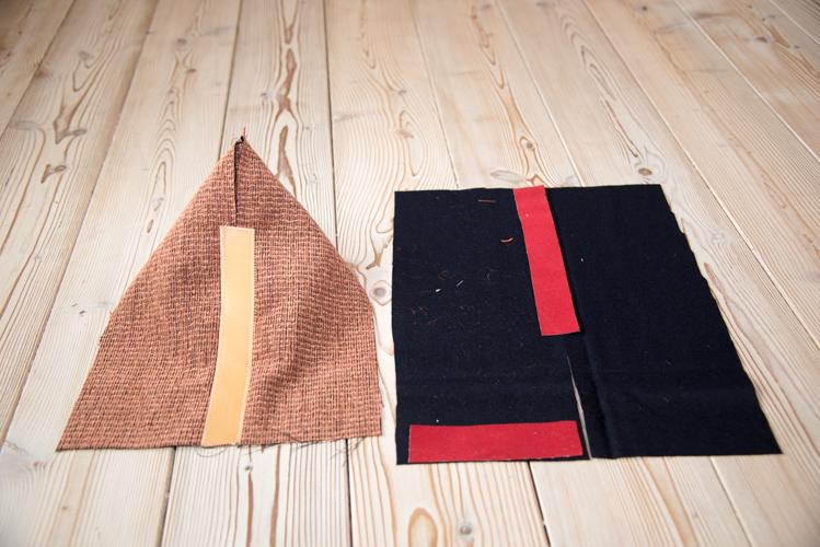 Für die oberste Stoffschicht wird der Stofff zugeschnitten und genäht.