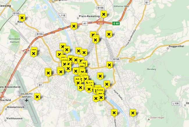 Die Karte zeigt die aktuellen Standorte der Sticker.