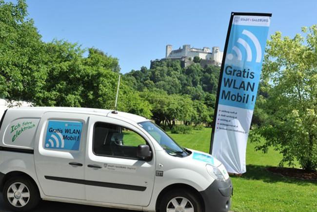 Bringt WLAN zu den Veranstaltungen: Das Elektro-WLANo-Mobil der Stadt Salzburg