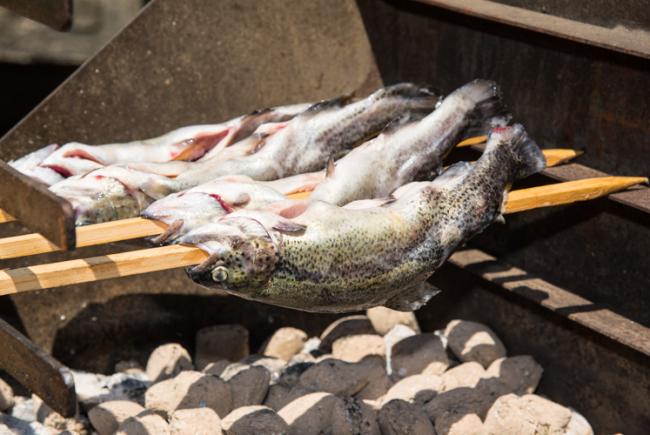 In Reih und Glied grillen die Fische über den Holzkohlen.