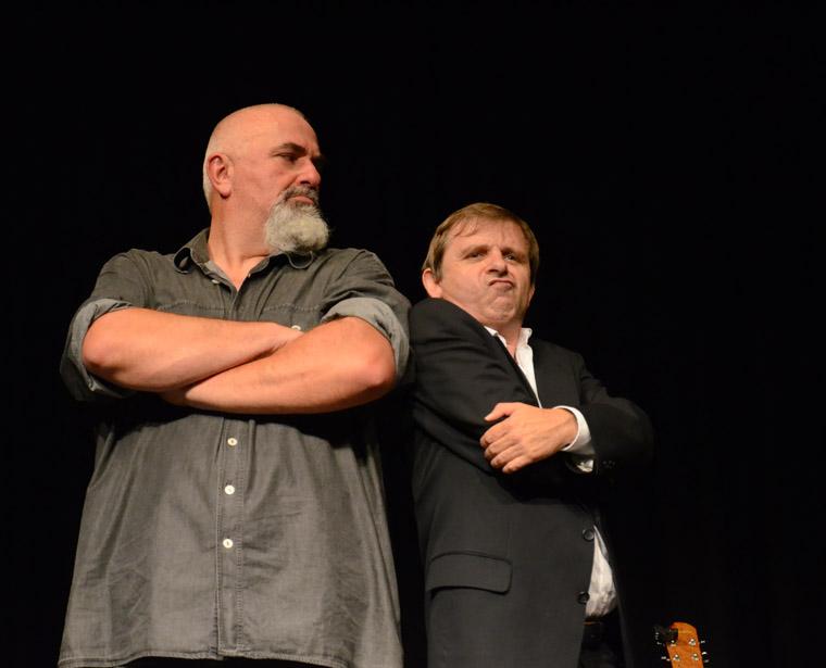 Baumann mit Fritz Messner auf der Bühne