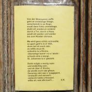 Gedicht eines Unbekannten an der Tür der St. Johannes Kirche.