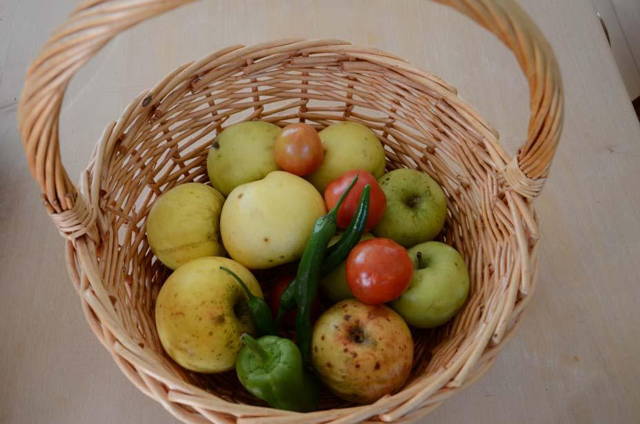 Korb mit Äpfel, Tomaten, Chili