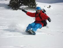 Sieht aus wie ein Snowboard, zumindest bergab.