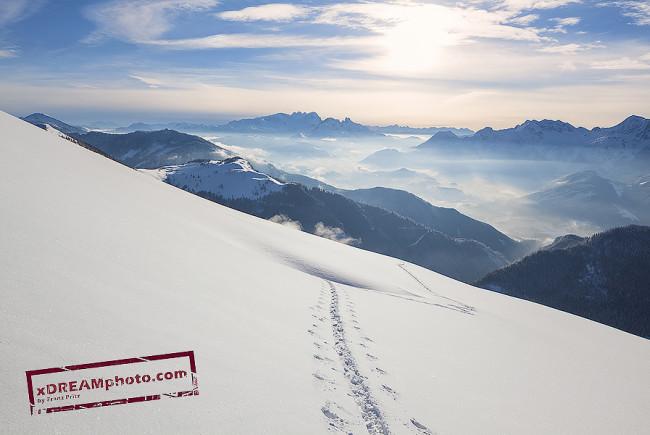 Blick von den Bergen südlich von Abtenau aus der Osterhorngruppe