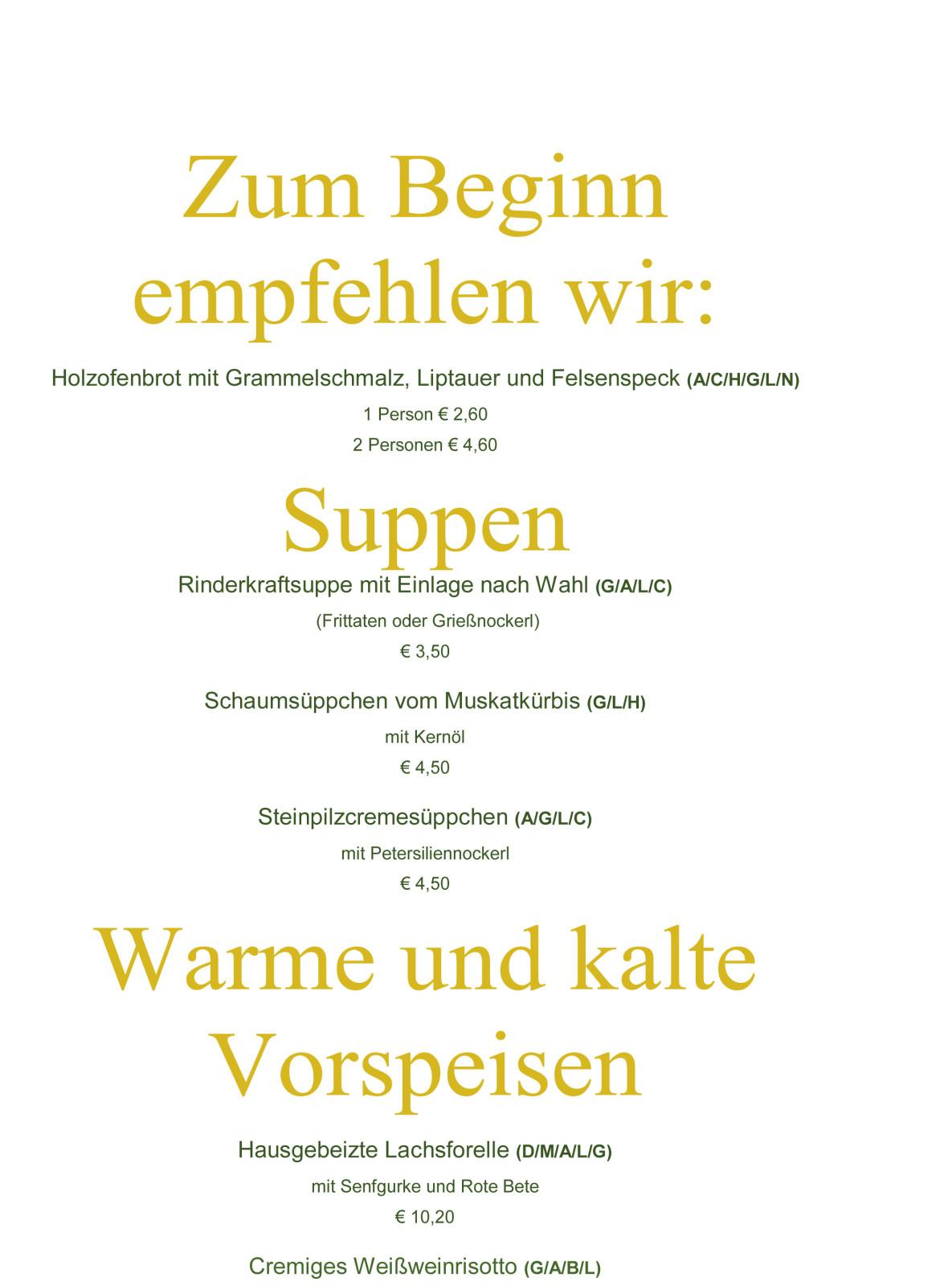 Speisekarten wurden umgeschrieben - als ein Beispiel eine Seite der Karte beim Brückenwirt. in St. Johann im Pongau