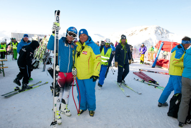 Am Start mit Georg Streitberger beim WC-Comeback in Saalbach Hintergelmm. c der-fotoigel.at