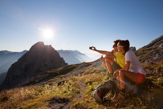 Aussicht auf Leoganger Steinberge, Sonnenaufgang beim Fahnenköpfel