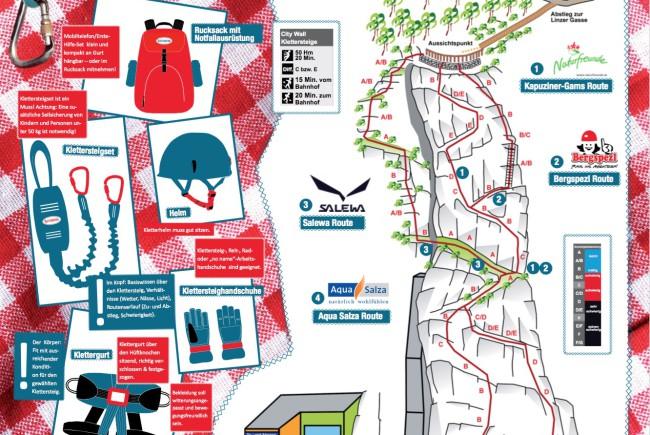 Der Klettersteig im Detail. Unter bergsteigen.com findet man alle Klettersteige in und um Österreich ©bergsteigen.com