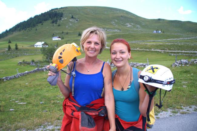 Unsere Höhlenexpertinnen Andrea Bernberger und Ina Treiber von der Salzburger Höhlenrettung.