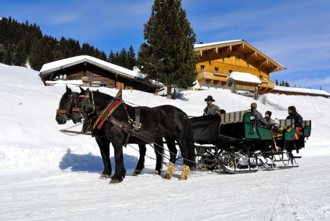 Winter auf der Lindlingalm im Talschluss von Saalbach Hinterglemm.