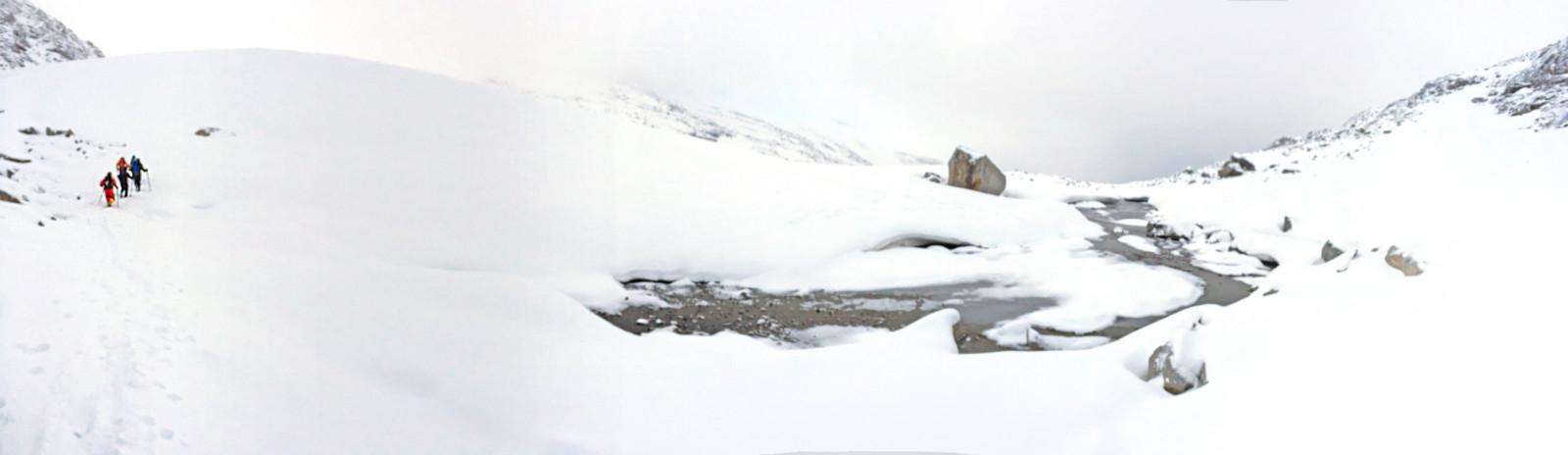 Hier oben herrscht ewiges Eis, auch wenn der Gletscher schon merklich geschrumpft ist.