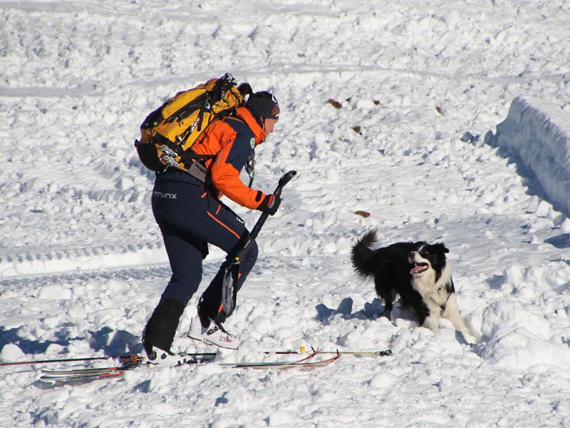 Hundeführerin der Bergrettung im Lawineneinsatz