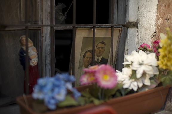 Fenster mit Blumen und Bild