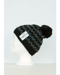 Bommel Mütze grau-schwarz